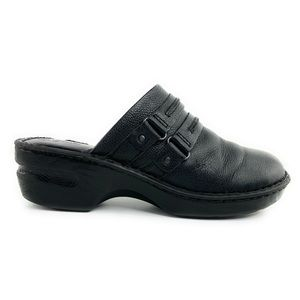 BOC Slip On Black Leather Mule/Clogs